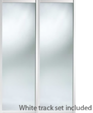 Shaker Style White Frame Mirror Door & Track Set to suit an opening width of 1193mm
